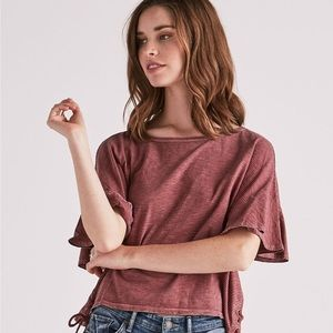 Lucky Brand Striped Flutter Sleeve Tee